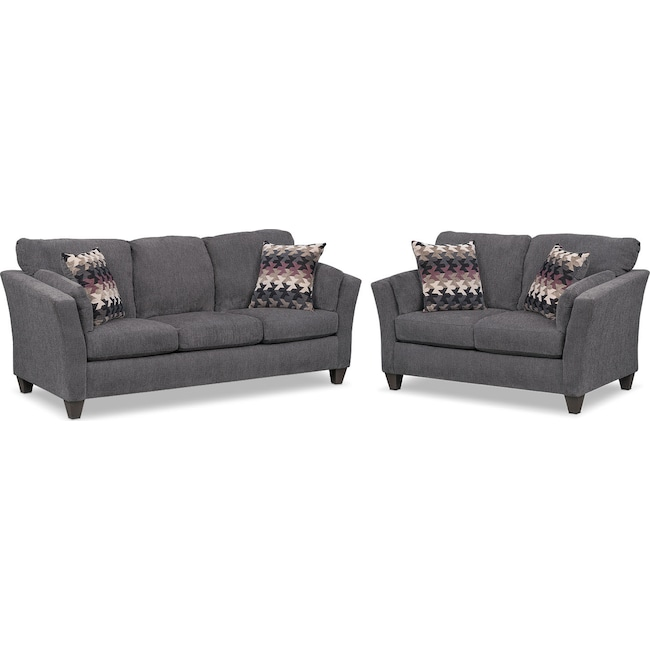 Living Room Furniture - Juno Queen Memory Foam Sleeper Sofa and Loveseat Set - Smoke