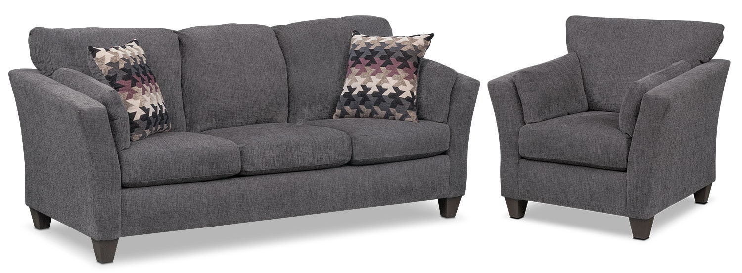 Juno Queen Memory Foam Sleeper Sofa and Chair Set - Smoke
