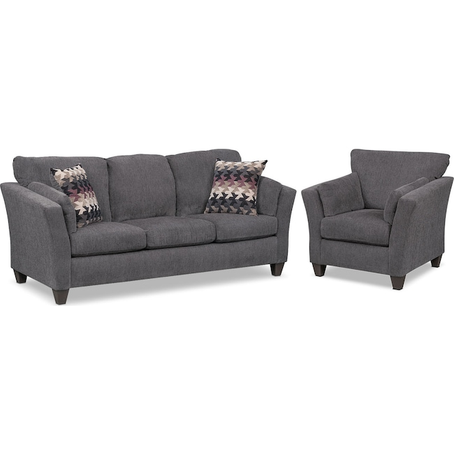 Living Room Furniture - Juno Queen Memory Foam Sleeper Sofa and Chair Set - Smoke