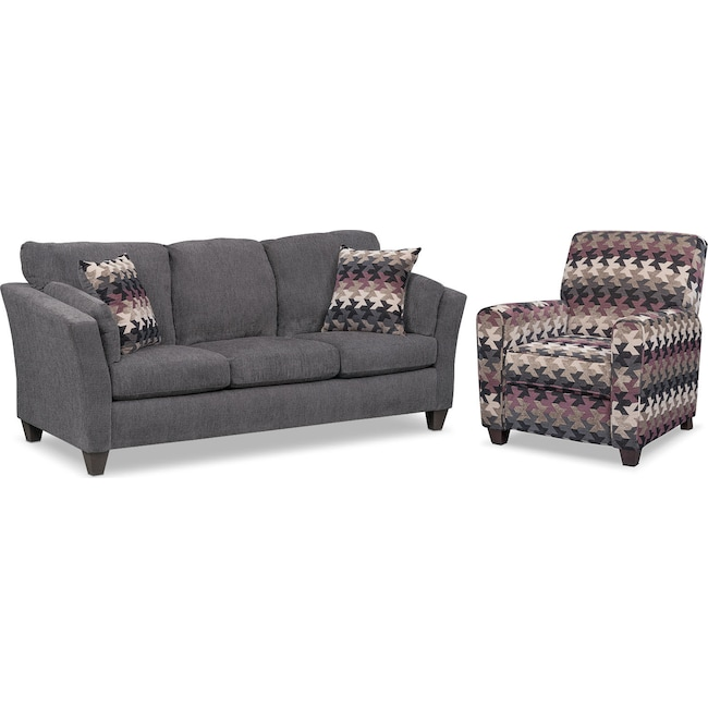 Living Room Furniture - Juno Queen Memory Foam Sleeper Sofa and Push-Back Recliner Set - Smoke