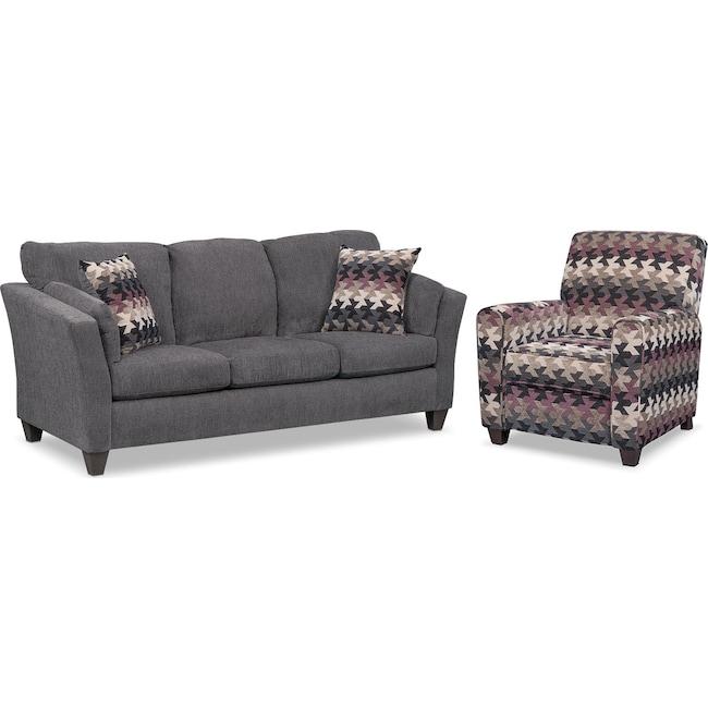 Living Room Furniture - Juno Sofa and Push-Back Recliner Set - Smoke