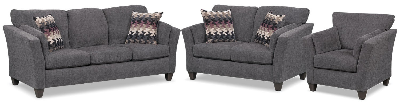 Living Room Furniture - Juno Queen Memory Foam Sleeper Sofa, Loveseat and Chair Set - Smoke