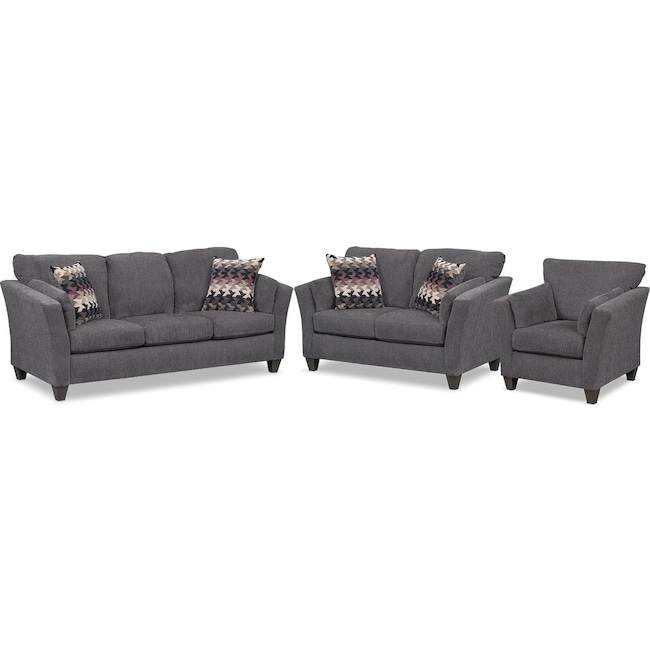 Living Room Furniture - Juno Queen Memory Foam Sleeper Sofa, Loveseat and Chair Set - Smoke