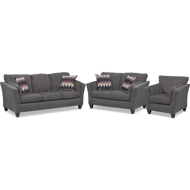 Living Room Furniture - Juno Sofa, Loveseat and Chair Set - Smoke