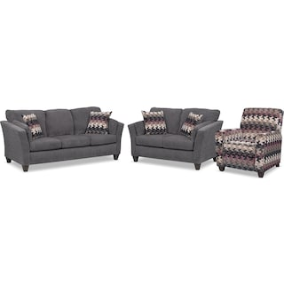 Juno Queen Innerspring Sleeper Sofa, Loveseat and Push-Back Recliner Set - Smoke