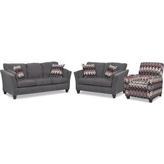 Juno Queen Memory Foam Sleeper Sofa, Loveseat and Push-Back Recliner Set - Smoke
