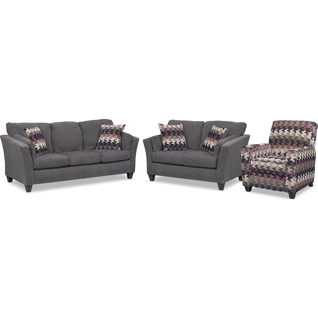 Living Room Furniture - Juno Queen Memory Foam Sleeper Sofa, Loveseat and Push-Back Recliner Set - Smoke