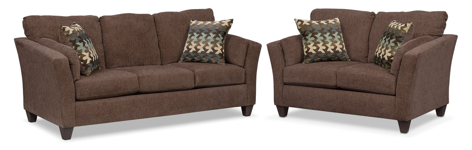 Juno Sofa and Loveseat Set - Chocolate