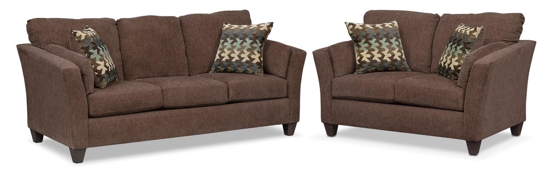 Living Room Furniture - Juno Queen Innerspring Sleeper Sofa and Loveseat Set - Chocolate
