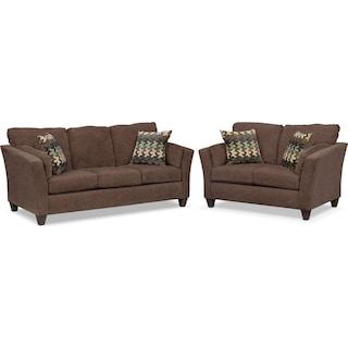 Juno Queen Innerspring Sleeper Sofa and Loveseat Set - Chocolate
