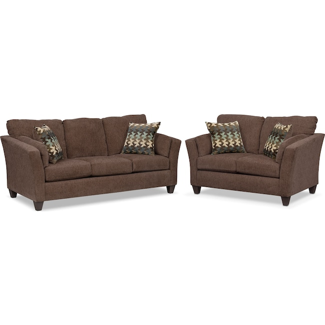 Living Room Furniture - Juno Queen Memory Foam Sleeper Sofa and Loveseat Set - Chocolate