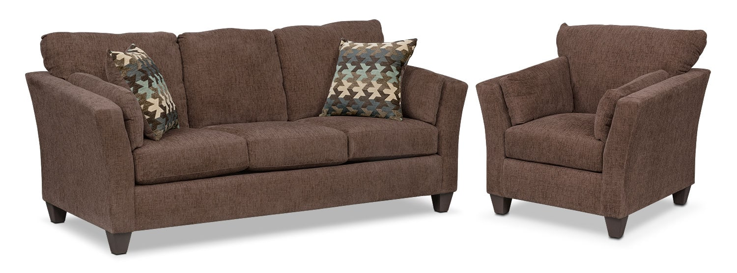 Juno Sofa and Chair Set - Chocolate