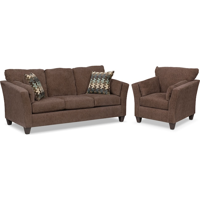 Living Room Furniture - Juno Queen Innerspring Sleeper Sofa and Chair Set - Chocolate