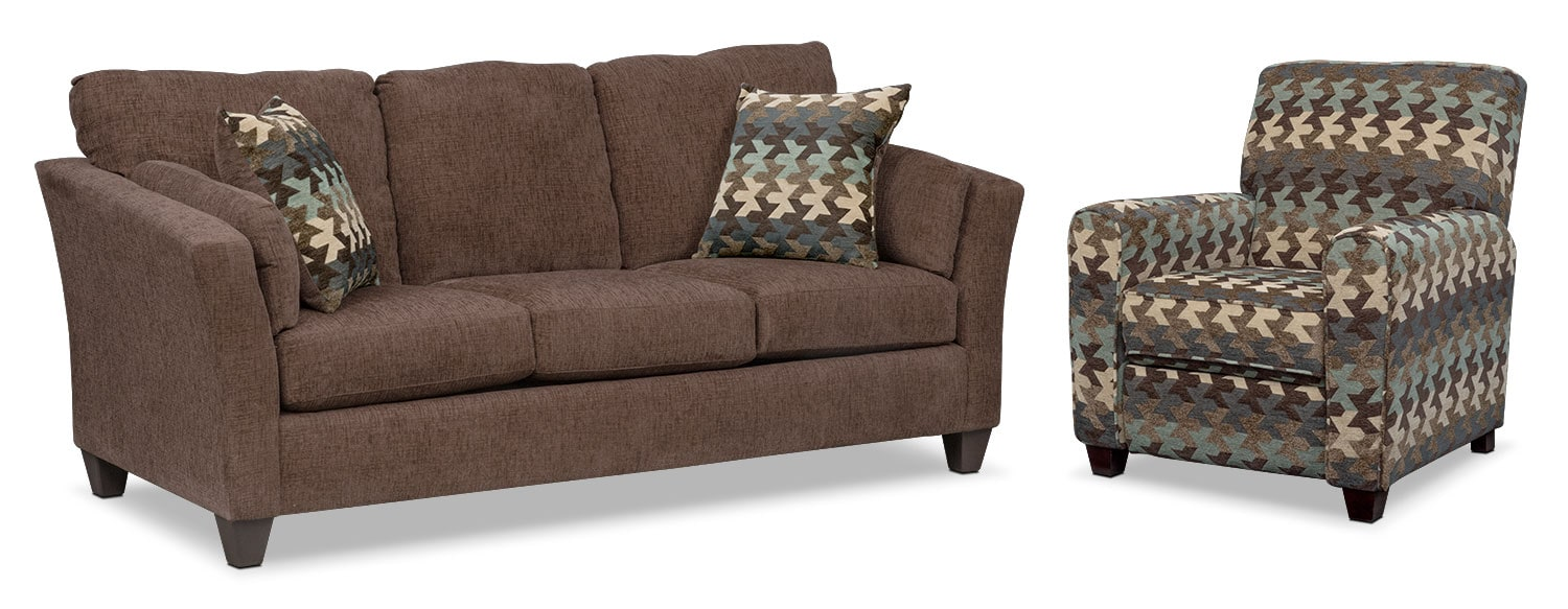 Juno Innerspring Queen Sleeper Sofa and Push-Back Recliner Set - Chocolate