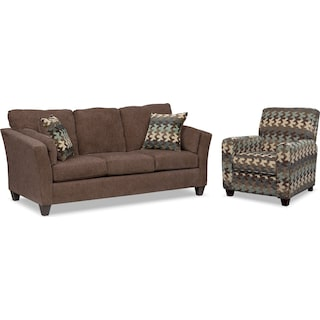 Juno Sofa and Push-Back Recliner Set - Chocolate