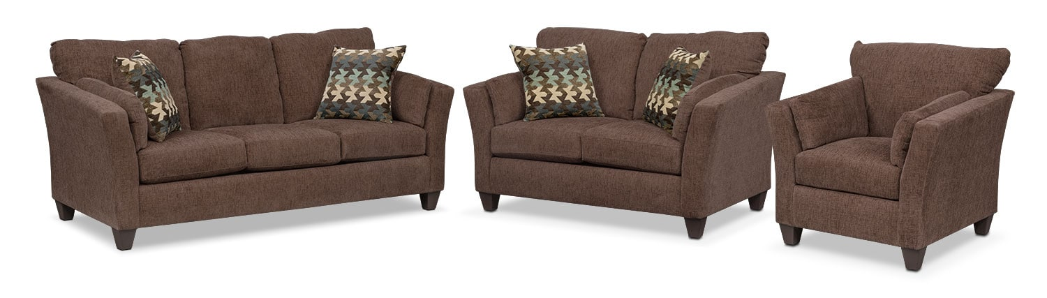 Living Room Furniture - Juno Queen Memory Foam Sleeper Sofa, Loveseat and Chair Set - Chocolate