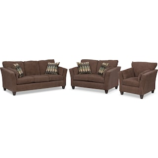 Juno Sofa, Loveseat and Chair Set - Chocolate