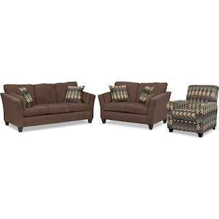 Juno Sofa, Loveseat and Push-Back Recliner Set - Chocolate