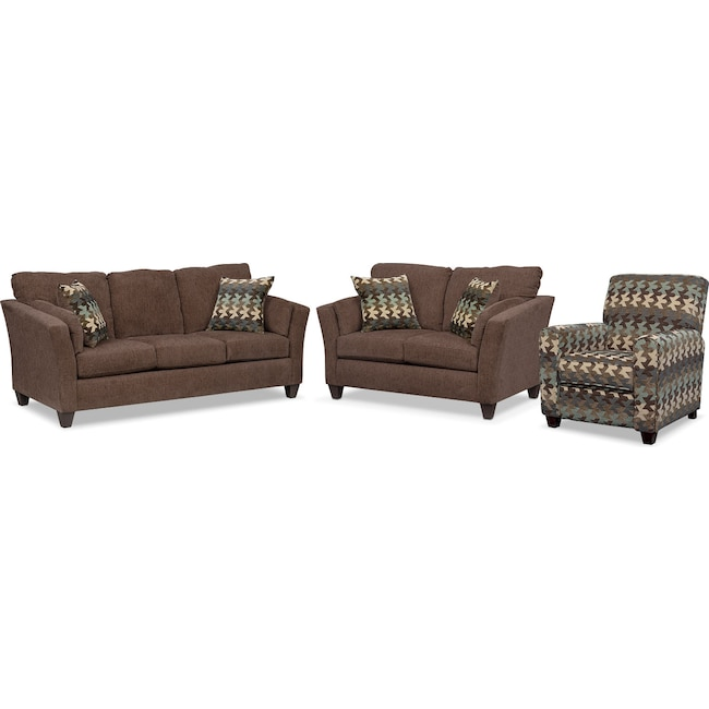 Living Room Furniture - Juno Sofa, Loveseat and Push-Back Recliner Set - Chocolate