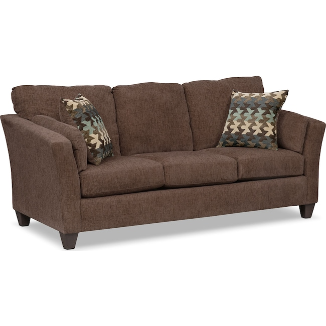 Living Room Furniture - Juno Queen Memory Foam Sleeper Sofa - Chocolate