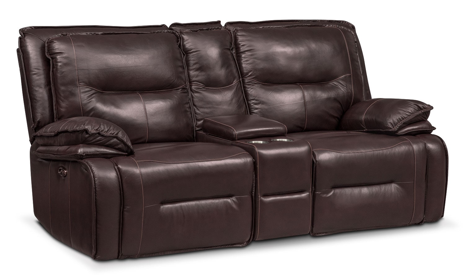 Living Room Furniture - Nikki 3-Piece Power Reclining Sectional with Console - Brown
