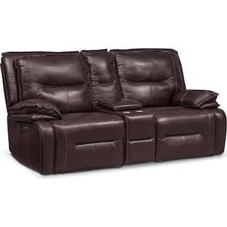 Nikki 3-Piece Power Reclining Sectional with Console - Brown