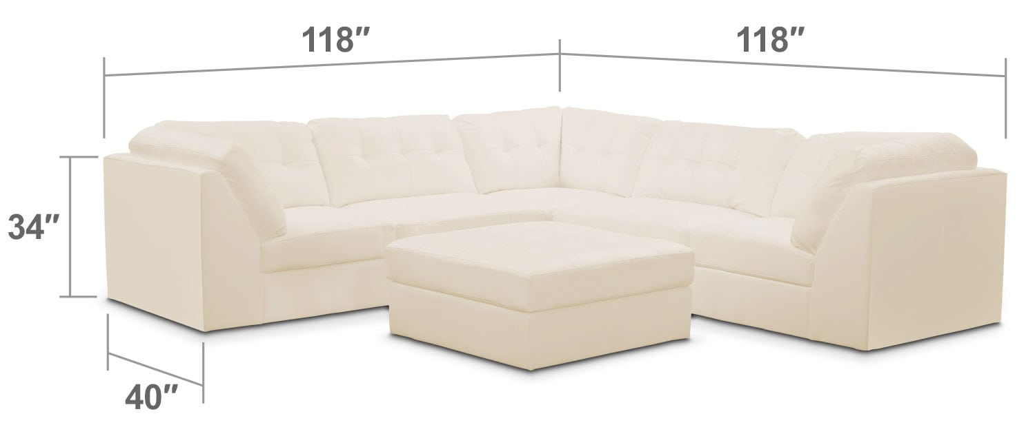 Living Room Furniture - Cayenne 6-Piece Modular Sectional - White