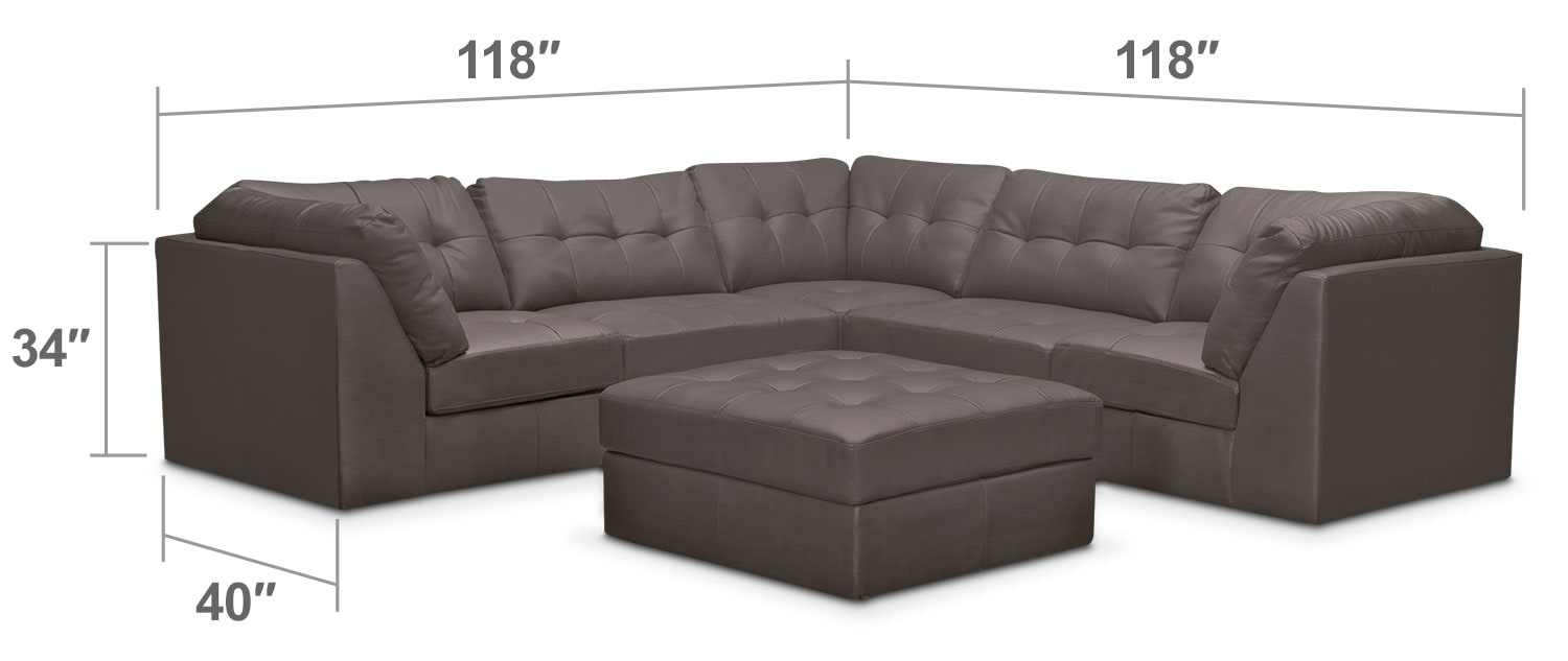 Living Room Furniture - Cayenne 6-Piece Modular Sectional - Gray
