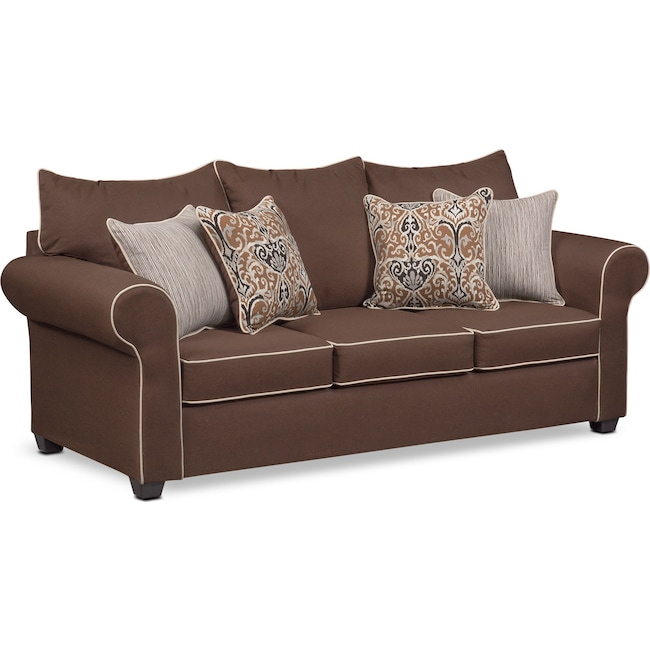 Living Room Furniture - Carla Queen Innerspring Sleeper Sofa - Chocolate
