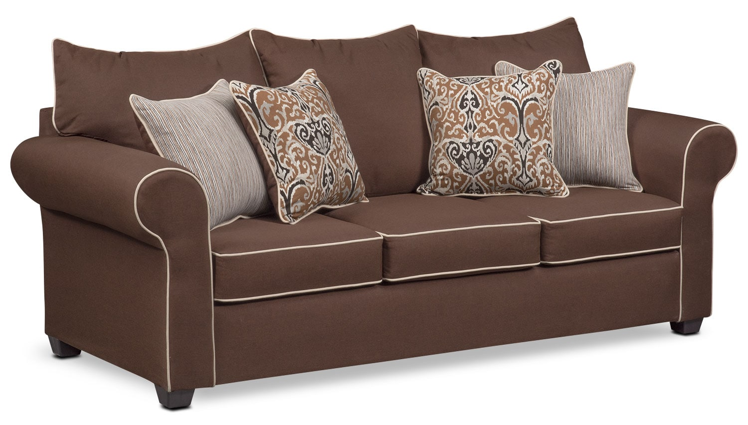 Carla Queen Innerspring Sleeper Sofa - Chocolate  sc 1 st  Value City Furniture : sectional sleeper sofa queen - Sectionals, Sofas & Couches