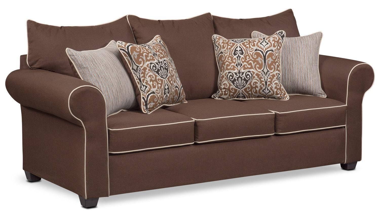 carla queen innerspring sleeper sofa chocolate