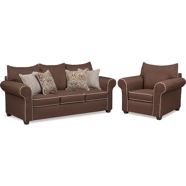 Living Room Furniture - Carla Queen Innerspring Sleeper Sofa and Chair Set - Chocolate