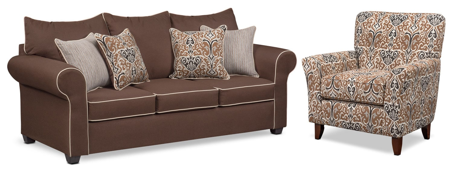 Living Room Furniture - Carla Sofa and Accent Chair Set - Chocolate