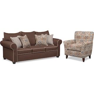 Carla Queen Memory Foam Sleeper Sofa and Accent Chair Set - Chocolate
