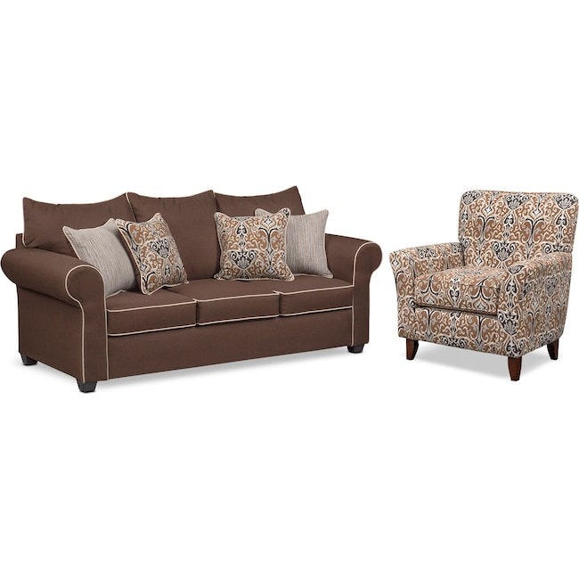 Living Room Furniture - Carla Queen Memory Foam Sleeper Sofa and Accent Chair Set - Chocolate