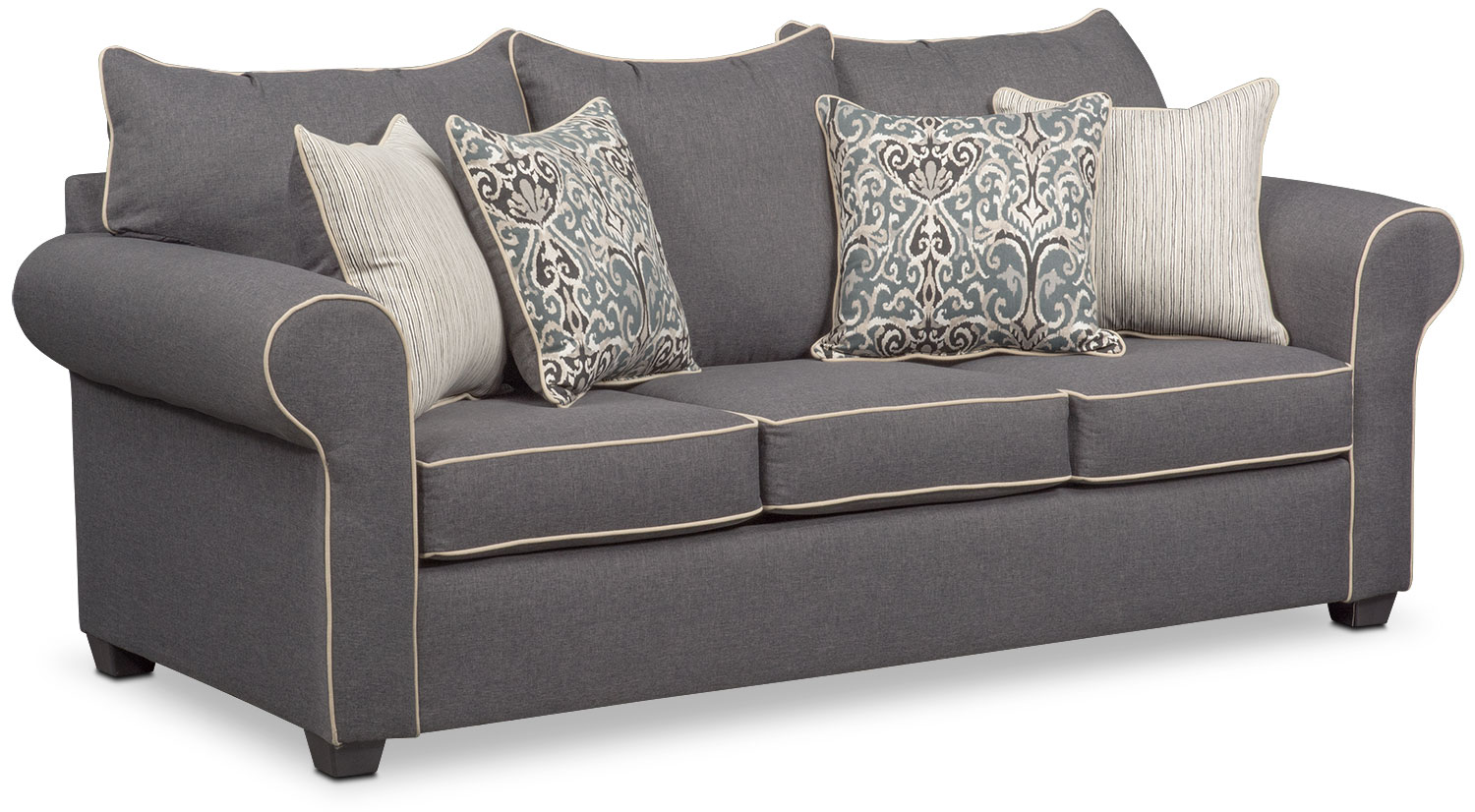 Living Room Furniture   Carla Queen Memory Foam Sleeper Sofa   Gray