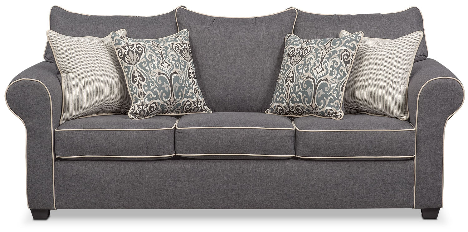 Carla Queen Memory Foam Sleeper Sofa Gray