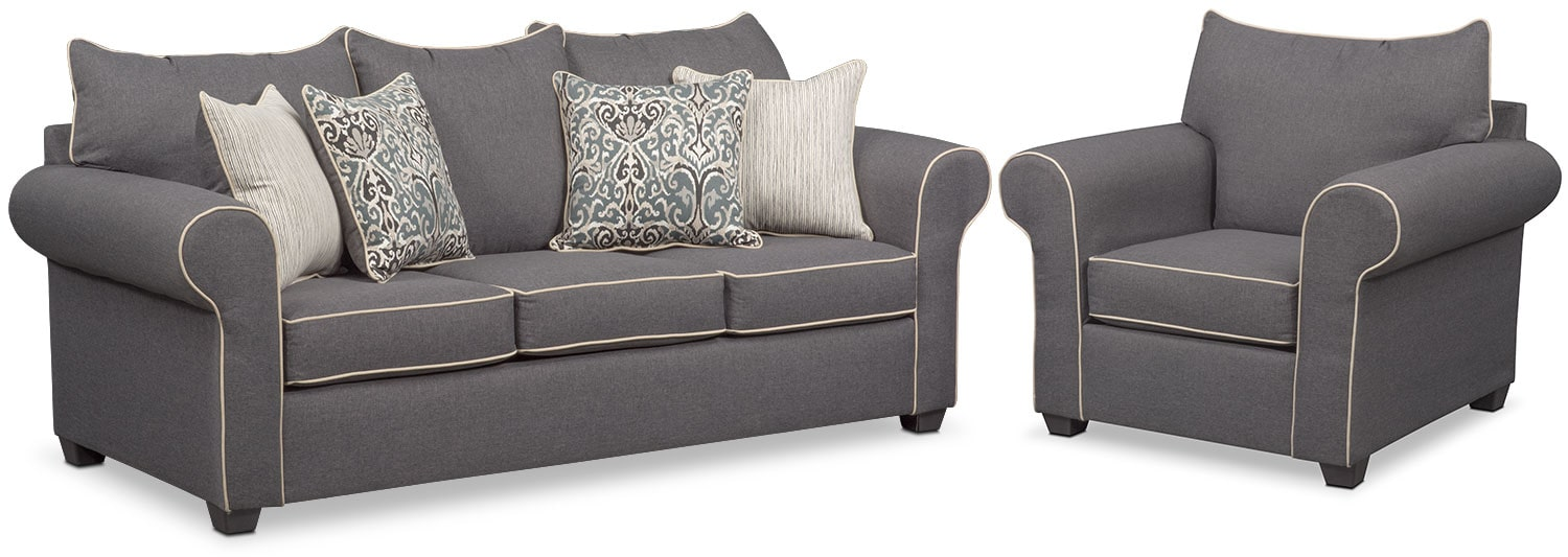 Living Room Furniture - Carla Queen Memory Foam Sleeper Sofa and Chair Set - Gray