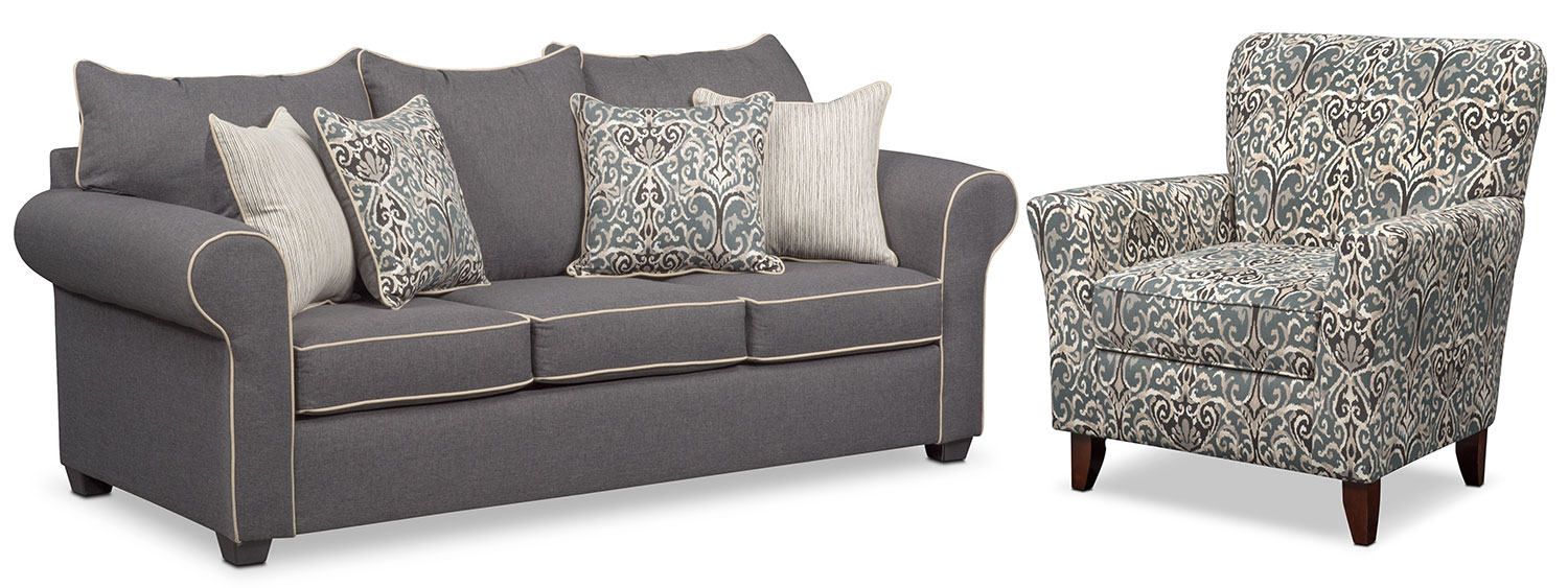 Carla Sofa and Accent Chair Set - Gray