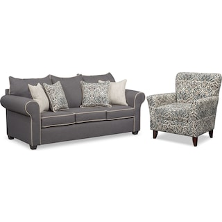 Carla Queen Innerspring Sleeper Sofa and Accent Chair Set - Gray