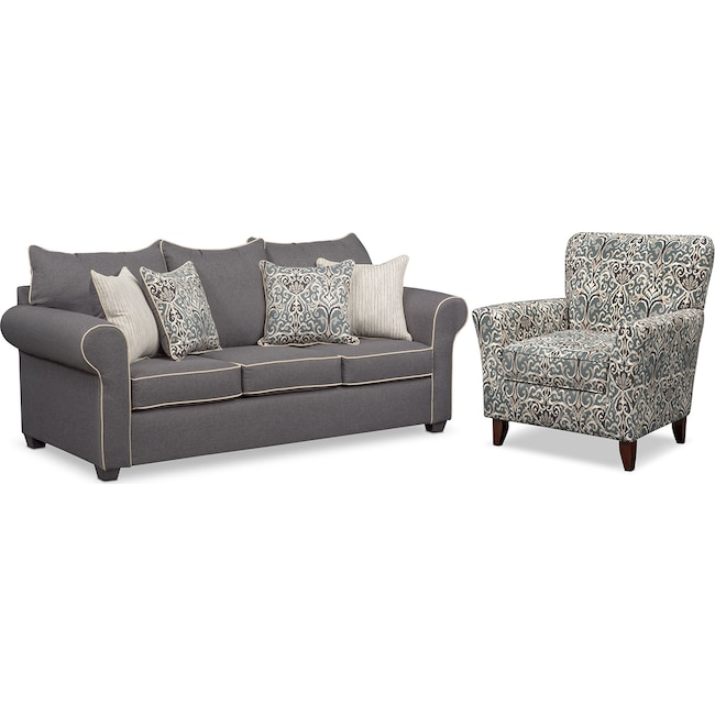 Living Room Furniture - Carla Sofa and Accent Chair Set - Gray