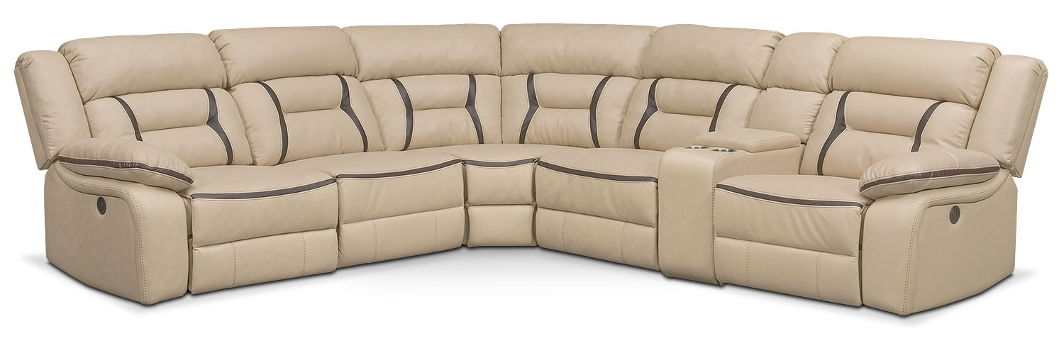 Living Room Furniture - Remi 6-Piece Power Reclining Sectional with 3 Reclining Seats - Cream