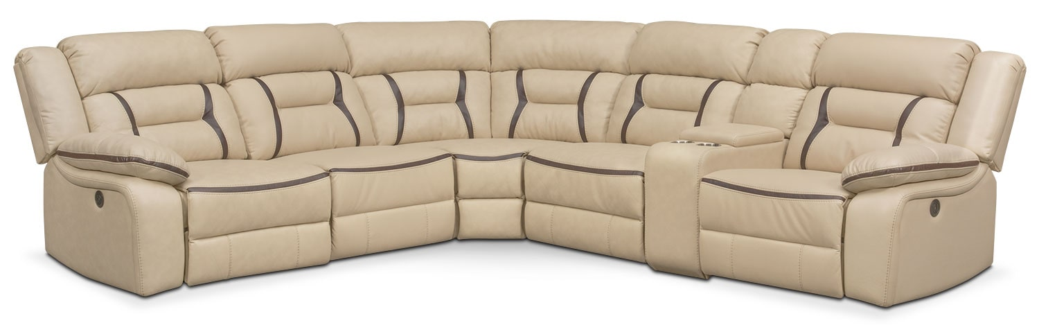 Remi 6-Piece Power Reclining Sectional with 2 Reclining Seats - Cream