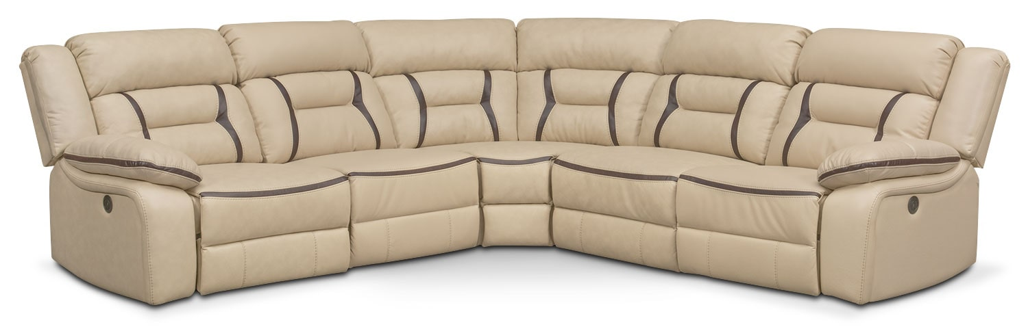 Remi 5-Piece Power Reclining Sectional with 3 Reclining Seats - Cream