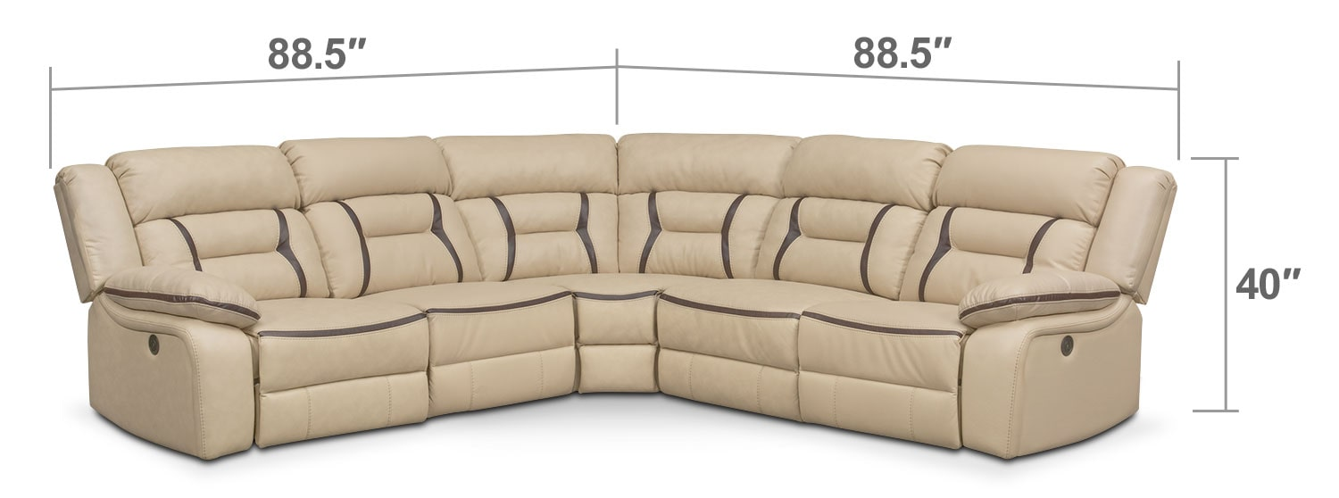 Living Room Furniture - Remi 5-Piece Power Reclining Sectional with 2 Reclining Seats - Cream