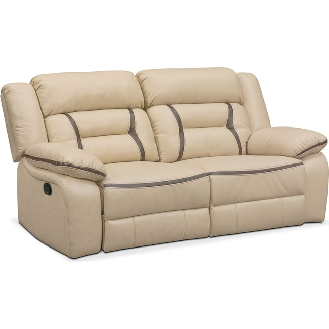 Living Room Furniture - Remi 2-Piece Reclining Sofa - Cream