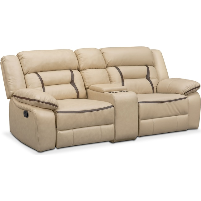 Living Room Furniture - Remi 3-Piece Reclining Sofa - Cream