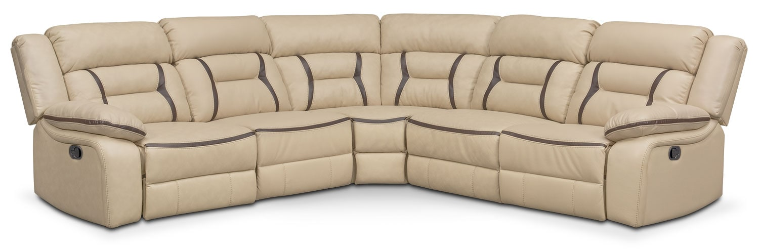 Living Room Furniture - Remi 5-Piece Reclining Sectional with 2 Reclining Seats - Cream