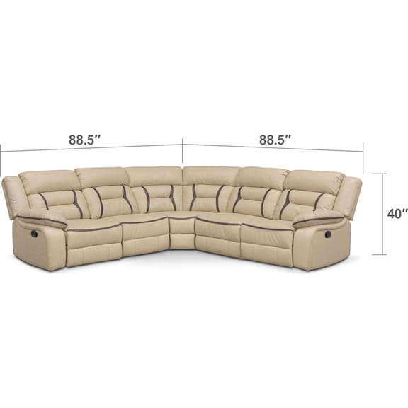 Living Room Furniture - Remi 5-Piece Reclining Sectional with 3 Reclining Seats - Cream