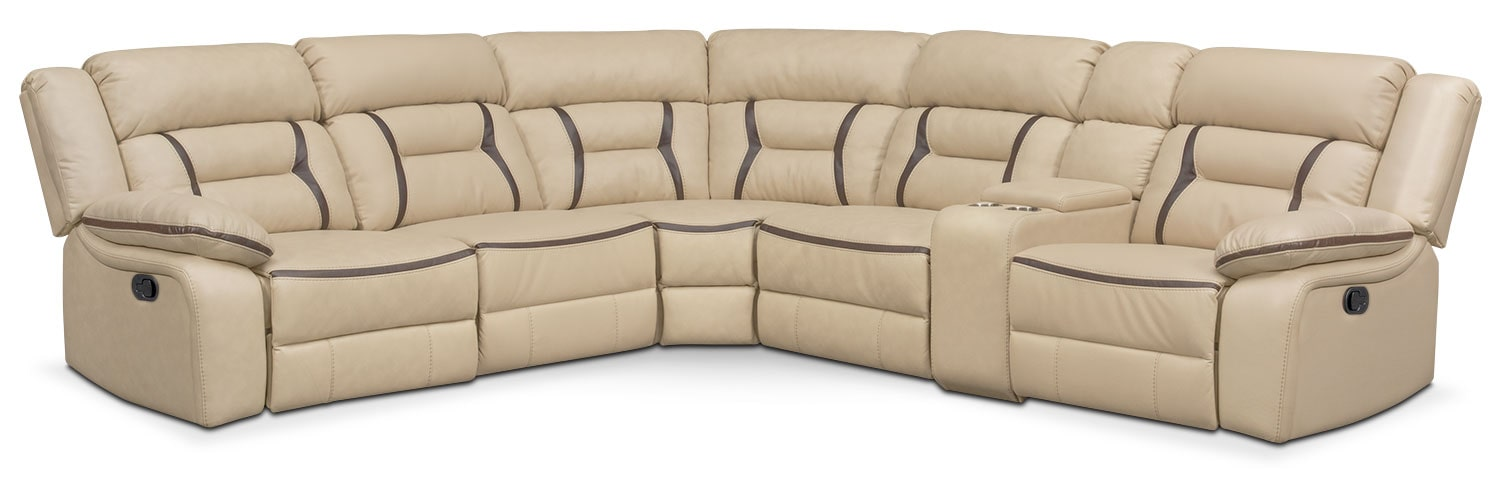 Living Room Furniture - Remi 6-Piece Reclining Sectional with 2 Reclining Seats - Cream